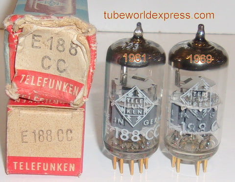 (!!!) (#2 7308 Telefunken Pair) 7308=E188CC Telefunken Germany <> bottom gold pins NOS 1961 and 1969