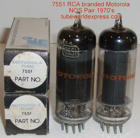 (!!) (#3 7551 Pair) 7551 RCA black plate branded Motorola NOS  1970's (44ma and 45ma)