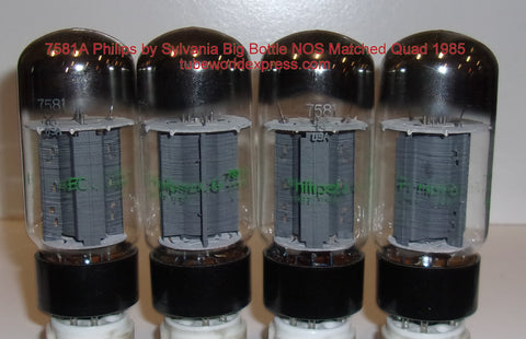 (!!!!!) (Best Overall Quad) JAN-7581A Philips by Sylvania Big Bottle NOS 1985 (76.5, 77.0, 77.5, 78ma) (matched quad)