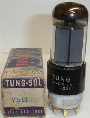 (!!) (~ Recommended Single ~) 7591 Westinghouse rebranded Tungsol NOS 1960-1965 - slightly smeared printing on base (58.5ma, Gm=10,500)