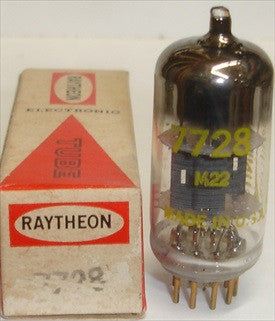 (!!!!) (Recommended Single) 7728=12AT7 Raytheon gold plated pins NOS 1960's, small amount of gold plating rubbed off pins from plugging tube in test socket (11.2/12.2ma) (not a pair)