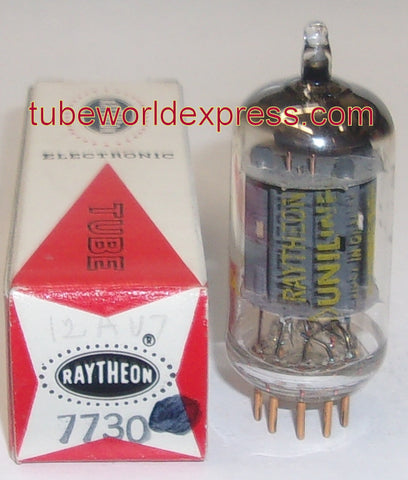 (!!) (BEST SINGLE) 7730=12AU7 Raytheon gold plated pins NOS 1960's (10/11ma)