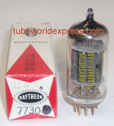 (!!) 7730=12AU7 Raytheon gold plated pins NOS 1960's (9.8/12.8ma)