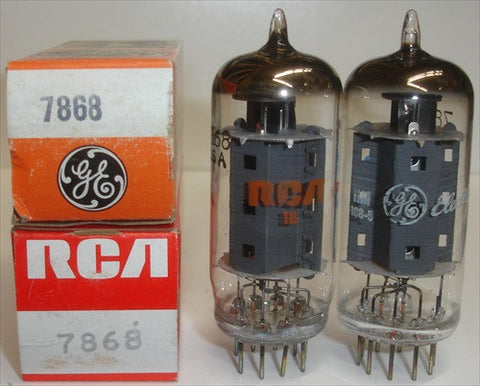 (!) (#4 7868 Sylvania Pair) 7868 Sylvania NOS same build (47ma and 48ma)