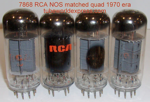 (!!!!) (Best 7868 Matched Quad) 7868 RCA NOS matched quad 1970 era (55ma, 55ma, 55ma, 57ma) (matched on Amplitrex)