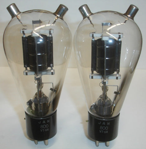 (!!!!!) (BEST OVERALL PAIR) 800=VT-64 RCA black plate NOS 1940's (55ma and 57ma) (matched on Amplitrex)