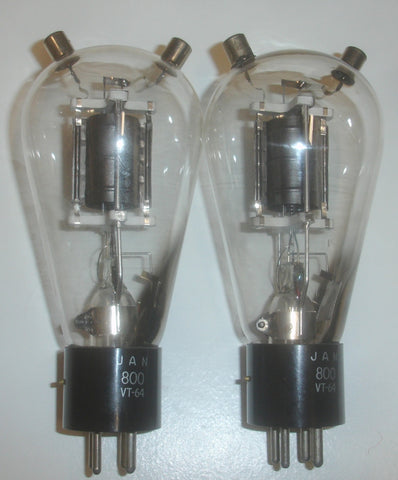 (!!!!) (BEST VALUE PAIR) 800=VT-64 RCA black plate NOS 1940's (53ma and 51.5ma)