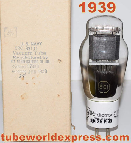 (!!!) (#1 801 RCA Single Tube) 801 RCA Radiotron ceramic base black graphite plate NOS 1939 (29ma)