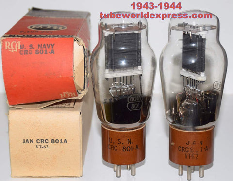 (!!!!) (~ Recommended Pair ~) 801A RCA NOS 1943-1944 (28.2ma and 28.6ma) 1-2% matched