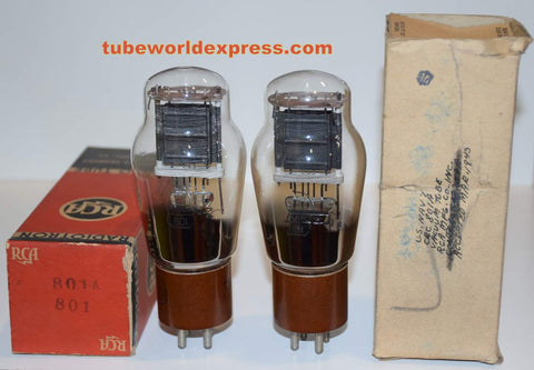 (!!!!!) (~ Best RCA Pair ~) 801A RCA NOS 1943-1945 (29.0ma and 29.4ma) 1% matched