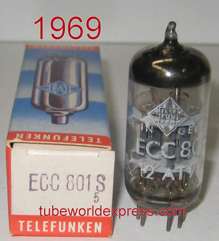 (!!!) (#1 12AT7=ECC801S Single) ECC801S=12AT7 Telefunken <> bottom NOS 1969 (9.6/10ma) (strong Ma and 1% Gm balance)