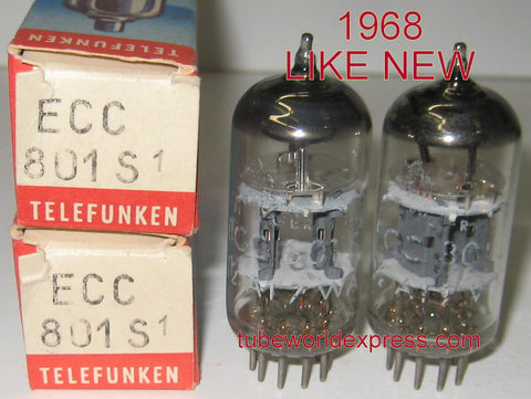(!!!!) (Best Pair for the money) ECC801S=12AT7 Telefunken Germany <> bottom 1968 test like new (8.8/9.2ma and 8.6/9.6ma)