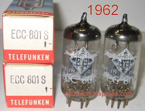 (!!!!) (#1 ECC801S Telefunken Pair) ECC801S=12AT7 Telefunken Germany <> bottom NOS 1962 same date codes 1-2% matched