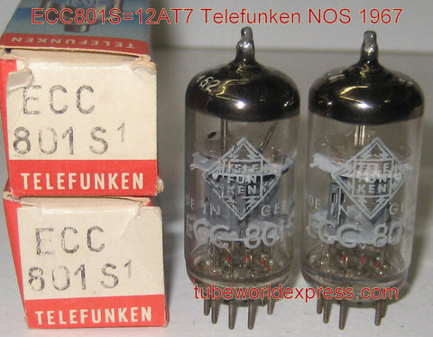 (!!!!) (#1 12AT7=ECC801S - Best Sound) ECC801S Telefunken Germany <> bottom NOS 1967 1-2% matched (9.4/10ma for both tubes)