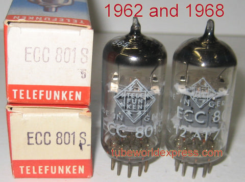 (!!!!) (~ Best ECC801S Pair ~) ECC801S=12AT7 Telefunken Germany <> bottom NOS 1962 and 1968 1-2% matched
