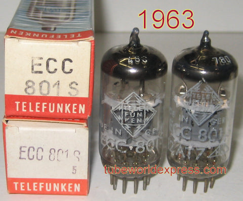 (!!!!) (#1 ECC801S TELEFUNKEN PAIR) ECC801S=12AT7 Telefunken Germany <> bottom NOS triple mica 1963 (BUY 2 SEPARATE PAIRS RECEIVE 5% DISCOUNT)