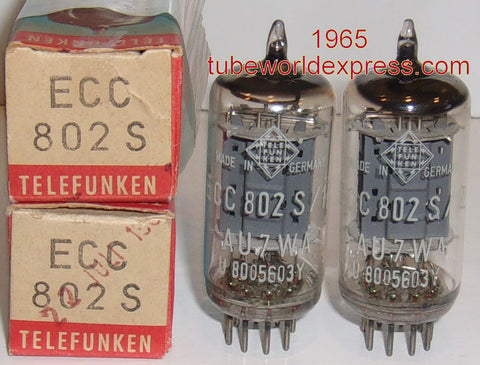 (!!!) (#1 12AU7 PAIR) ECC802S=12AU7 Telefunken Germany <> bottom NOS 1965 1-2% matched (high Ma and Gm) (best sound)