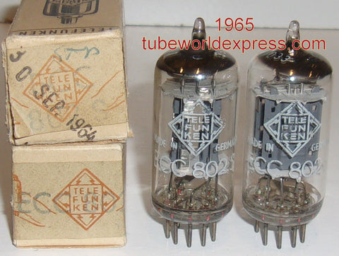 (!!!) (#1 12AU7 PAIR) ECC802S=12AU7 Telefunken Germany <> bottom NOS 1965 1-2% matched (BUY 2 pairs receive 5% discount) (high Ma and Gm)