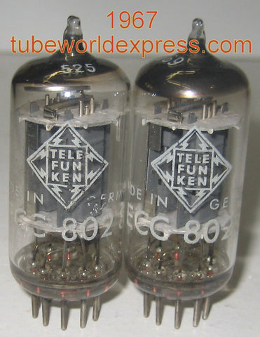 (!!) (#1 12AU7 Pair) ECC802S=12AU7 Telefunken Germany <> bottom low hours/like new 1967 same date codes 1-2% matched