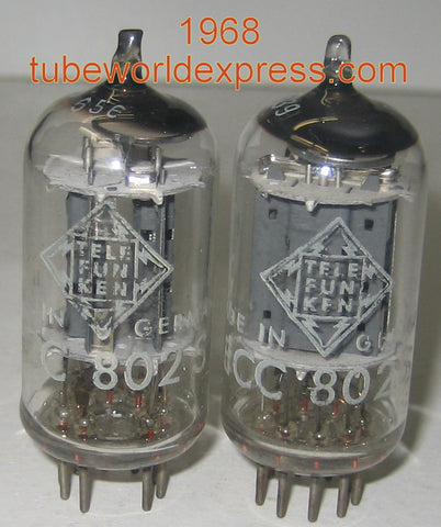 (!!!!) (#2 12AU7 Telefunken Pair) ECC802S=12AU7 Telefunken Germany <> bottom low hours/like new 1968 1-2% matched