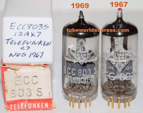 (!!!!!) (Best Overall Pair) ECC803S=12AX7 Telefunken Ulm Germany <> bottom gold pins NOS 1967 and 1969 (1.2/1.4ma and 1.2/1.5ma) (Nagra, Lamm, VTL, Aesthetix, Diva)