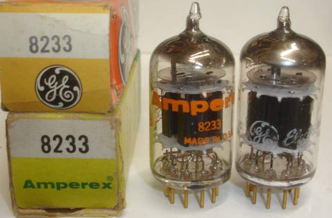 (!) (#1 E55L PAIR) 8233=E55L Amperex USA NOS 1968-1969 same build (56ma and 57ma) (matched on Amplitrex)