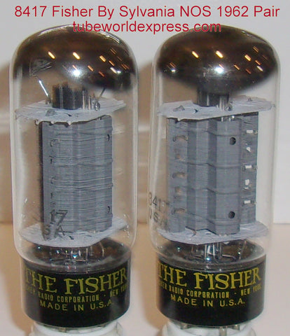 (!!) (#1 8417 Pair) 8417 Fisher by Sylvania NOS 1962 made for FISHER audio equipment (118ma and 119ma) (matched on Amplitrex)