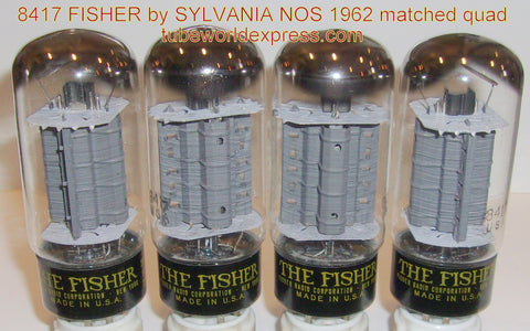 (!!) (#1 8417 Quad) 8417 Fisher by Sylvania NOS 1962 made for FISHER audio equipment (120, 120, 120, 121ma) (matched on Amplitrex)