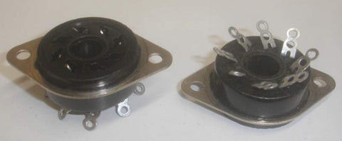 8 pin Amphenol = American Phenolic Corp, Chicago, USA, black chassis mount sockets NOS (0 in stock)