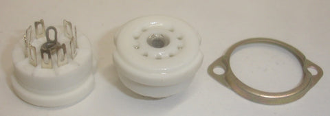 9 pin ceramic TOP chassis mount socket with mounting bracket (1 in stock)