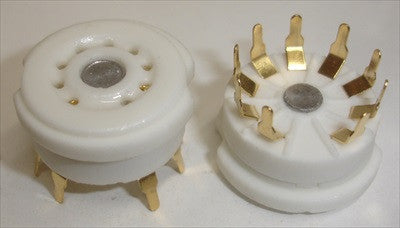 9 pin ceramic pc mount socket with gold-plated pins (10 in stock)