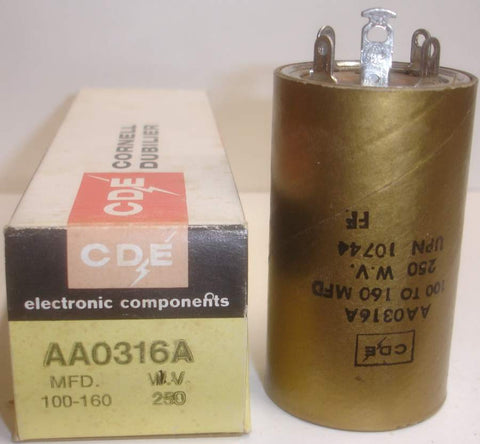 100-160uf/250 Cornell CDE Gold Can NOS 2.5