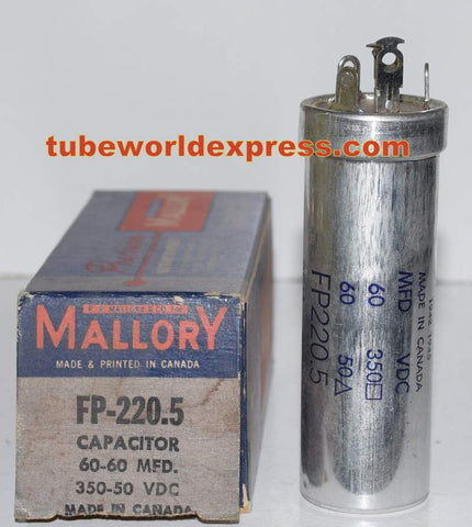60uf/350VDC and 60uf/50VDC Mallory Canada FP NOS (3