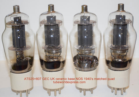 (!!!!!) (BEST QUAD - BEST SOUND) 807=ATS25 GEC England ceramic base NOS 1940's (67/67/69/69ma) (recommended for Tron, VTL)