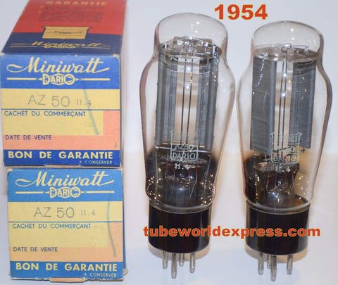 (!) (~ Best AZ50 Pair ~) AZ50 Miniwatt Dario France NOS 1954 (rare pair)