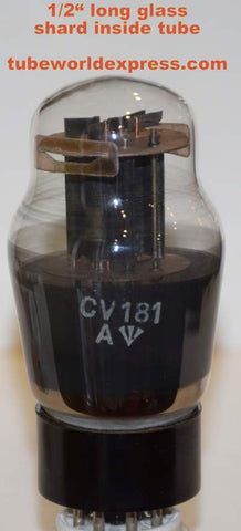 (!!!!) (#4 CV181 1950's Single) CV181=ECC32 Mullard black base black plates NOS 1950's glass shard inside tube (6.2/7.2ma)