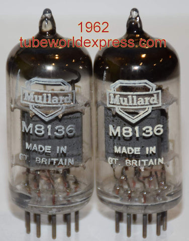 (!!!!!) (~ Best Sounding Mullard Pair ~) CV4003=M8136=12AU7 Mullard Whyteleafe plant UK NOS copper grid posts large