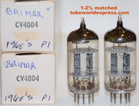 (!!) (#3 CV4004 PAIR) CV4004=12AX7 Mullard NOS/80-90% 1977-1981 same internals 1-2% matched