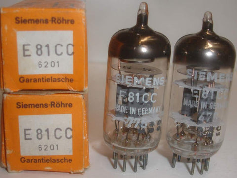 (!!!) (#1 12AT7 Siemens Pair) E81CC=12AT7 Siemens triple mica copper grid posts NOS 1975 1-2% matched (high Ma and Gm)