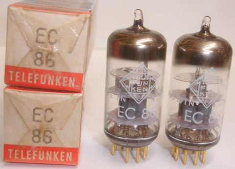 (!!) (~ Recommended Pair ~) EC86 Telefunken Kuhl-Tube cryo-treated gold pins NOS 1964 same date codes (14.4ma and 15ma)