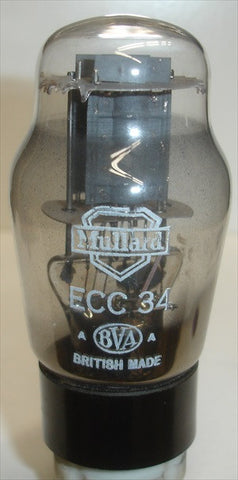 (Best Single) ECC34 Mullard NOS 1950's (10.1ma/10.2ma)