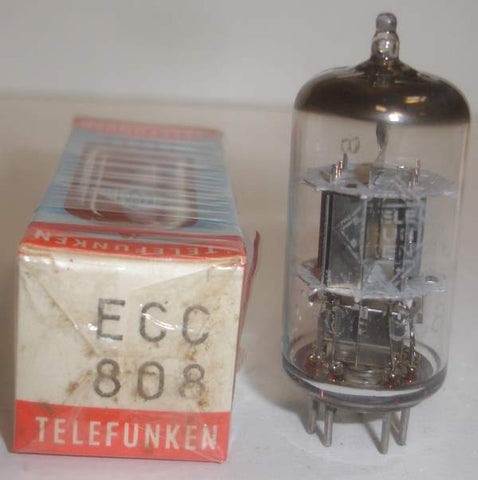 ECC808=6KX8 Telefunken Diamond Bottom NOS 1969 (.5/.8ma Gm=1200/1500)