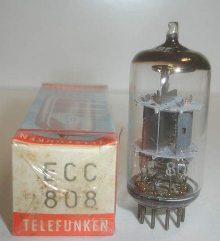 (!) (Best Value Single) ECC808=6KX8 Telefunken Diamond Bottom NOS 1969-1970 faded printing from rubbing inside box (.8/.8ma Gm=1500/1500)
