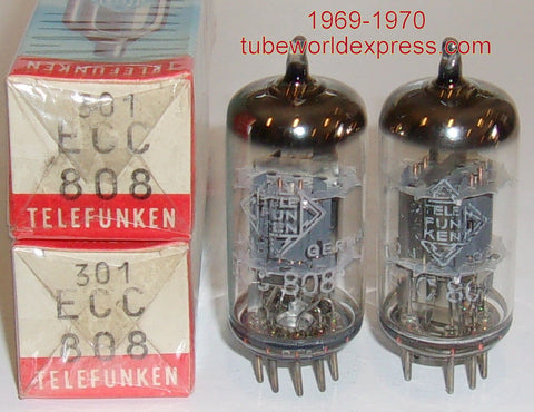 (!!!) (Recommended Telefunken Pair) ECC808=6KX8 Telefunken Diamond Bottom NOS 1969-1970 (1.1/1.5ma and 1.2/1.4ma)