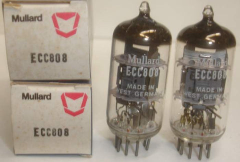 (!!) (#1 ECC808 Valvo Pair) ECC808=6KX8 Mullard Made in Germany by VALVO NOS 1969 same date codes 1% matched (1.3ma x 4 sections) (matched on Amplitrex)