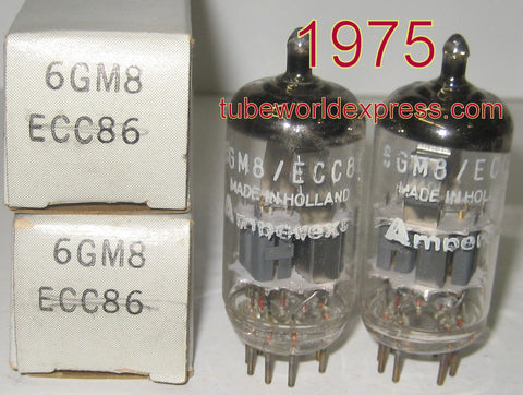 (!!) (Recommended Pair) ECC86=6GM8 Amperex Holland 1975 2-3% matched (5.1/5.5ma and 4.9/5.1ma)