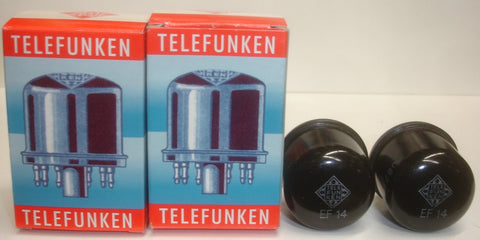 EF14 Telefunken used/good 1957 (1 pair: 13ma and 13.1ma) almost consecutive serial #'s
