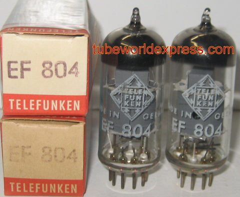 (!) (BEST PAIR) EF804 Telefunken NOS 1960's same date codes 1% matched (3.3/3.5ma)