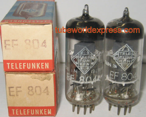 (!!!!) (BEST OVERALL PAIR) EF804 Telefunken silver shield NOS 1960's (3.2/3.2ma) 1-2% matched