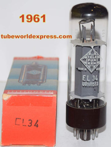 (!!!!) (Best Telefunken Single) EL34 Telefunken Ulm Germany NOS 1961 original box (88ma) (rare)